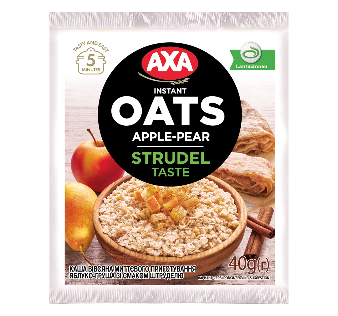 Instant oat porridge «strudel» with apple and pear