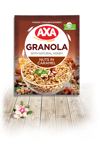 Granola with nuts in caramel