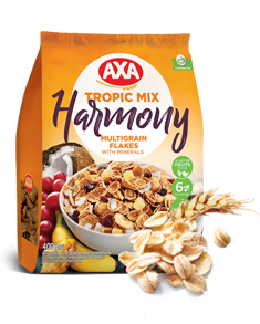 Multigrain flakes enriched with minerals and tropical fruits